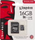 MicroSD 16Gb class 10 Kingston Industrial UHS-I 90/35МБ/с +адаптер